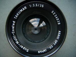 used Asahi Pentax Takumar 35mm f3.5 wide angle lens - M42 screw mount