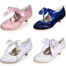 Women Vintage Lace Wedding Bridal Shoes Bridesmaid Prom Party Low Heel Ribbon 6