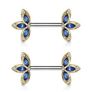 "PAIR Crystal Set Three Petal Flower Ends 14g 1/2"" Nipple Ring Barbells Shields"
