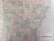 Antique Color Map of Arkansas-circa 1893