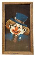 "Vintage Creepy Clown BLACK VELVET PAINTING mid century modern 13""x 22"""