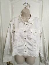 MAURICES White Jean Denim Jacket Stretch Distressed Plus Size 2 2x