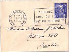 GANDON - 15F BLEU SEUL SUR LETTRE DE PARIS POUR LA TUNISIE LE 12-11-1954.