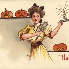 HALLOWEEN MIRROR SUPERSTITION..SEE LOVER'S FACE,HBG GLAMOUR LADY POSTCARD
