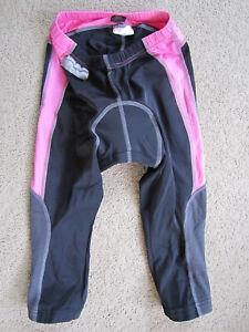 AWESOME Sportful black + pink padded cycling shorts / capri leggings - womens S