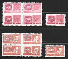 BRAZIL STAMPS SCOTT #927 - 928 BLOCKS OF 4 + 1 MNH 1961