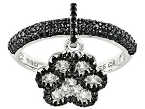ADORABLE BLACK SPINEL & WHITE ZIRCON DANGLE PAW PRINT RING 925 STERLING SILVER