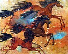 Horses, art print of painting by E. C. Sullivan, Desert Run, matted 11x14