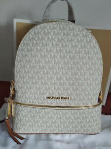 Genuine Michael Kors Rhea Medium  MK Signature Backpack in Vanilla sales