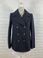 Banana Republic Double Breasted Wool Blend Peacoat Jacket Navy Blue Womens Small