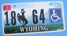 """WYOMING LOW NUMBER HANDICAPPED LICENSE PLATE """" 18  64 """" WHEELCHAIR CROOK COUNTY"""