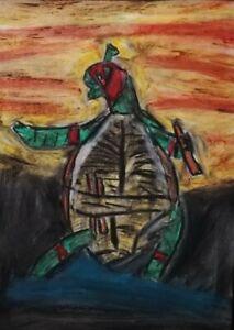 Gemälde Schildkröte Abstrakt Modern Kunst Papier A4,  turtle contemporary art