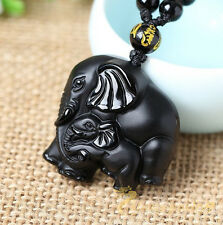 100%Natural Black ObsidianCute Elephant Lucky Pendant Beads Necklace+qs