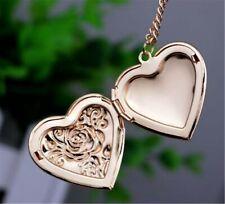 Women Girl Photo frame Locket Open Rose love Heart Pendant Necklace Chain Gift
