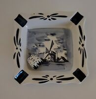 Delft Blue Holland Ashtray Windmill & Raised Clog Hand Painted Porcelain Vintage