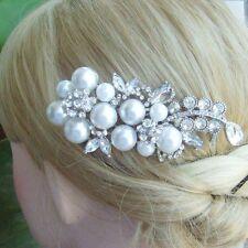 Classic Clear Pearl Austrian Crystal Flower Hair Comb Headpiece Tiara FSE05863C1