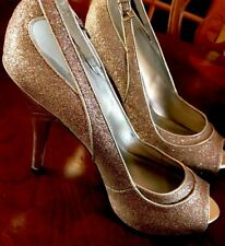Guess Silver Glitter sz 8 Peep Toe Heel Shoes Sling Back High Heels Perfect 9 M