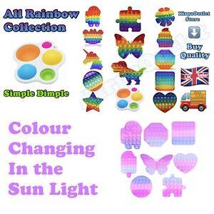 Push Pop Fidget Toy It Bubble Special Needs Silent Sensory Autism ONLY Rainbow