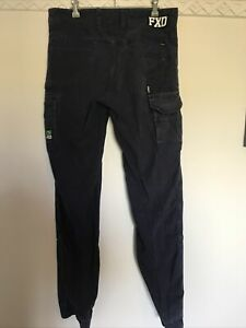 FXD work pants Cuffed Stretch Size 32 Cargo Pants Navy Blue