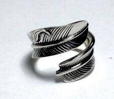 Sterling Silver 925 Handcrafted Feather Ring Free size adjustable Super Nice.