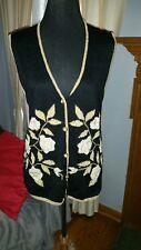 Jaclyn Smith Petite Black Gold Beads Sparkly Embellished VINTAGE SWEATER Vest  M