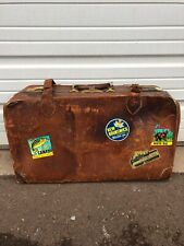 Antique Leather Suitcase With Old Stickers And Handle Nice Wear