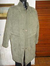 Manteau long style anglais toucher daim UN JOUR AILLEURS grand 40 42/44 KAKI