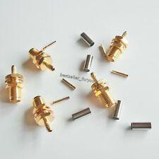 10Pcs SMA Female Nut Bulkhead Crimp For RG174 RG316 RG179 Cable RF Connector