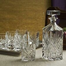 Whiskey Chrystal Bar Set 8 Piece Bourbon Scotch Glasses Decanter Glassware Gift