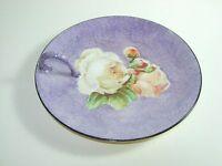 VINTAGE Hand Painted Floral PURPLE ORANGE ROSE porcelain Plate CANDY DISH PLATE