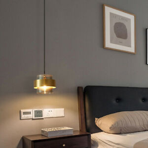 Modern Smoky Grey Glass Shade Brass Kitchen Bedroom Diner Ceiling Pendant Light