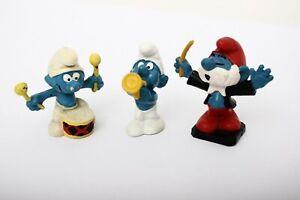 Smurfs Schleich 20092 Conductor Papa 20009 Drummer 20072 Trumper player Vintage