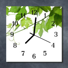 Glass Wall Clock Kitchen Clocks 30x30 cm silent Leaves White