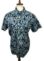 Gap Womens Size L Floral Watercolor Lived-In Short Sleeve Button Down Shirt Top