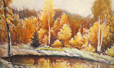 Vintage impressionist watercolor painting landscape forest lake