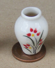 1:12 Scale Cream & Red Ceramic Vase 2.6cm Tumdee Dolls House Ornament CRR12