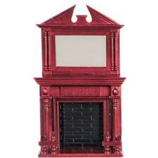 Dollhouse Fireplace w Mirror Town Square AZD0525 Wood Walnut Miniature