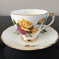 DelpHine Fine China Cabbage Rose Red YellowTeacup and Saucer