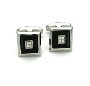 Cufflinks Steel Onyx And Sapphires White Of ZANCAN ehg014b-on GIOIELLERIA AMADIO
