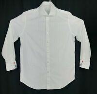 Robert Graham EST 01 White Striped Shirt Embroidered Contrast Flip Cuffs 38 15
