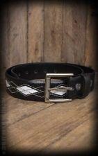 Cinturón Piel - Leather Belt Diamond - black/offwhite