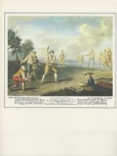 "1974 Vintage CRICKET ""CRICKET"" CURVED BAT & UNDERARM PITCH COLOR Art Lithograph"