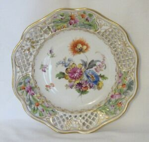 Antique~Carl Thieme Dresden~Reticulated Pierced Floral Cabinet Plate~8.5 In