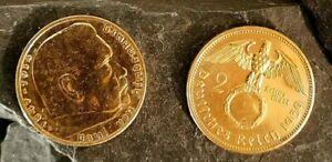 2 Reichsmark 1939 Motiv: Adler mit HK /24 Karat vergoldet in Kapsel
