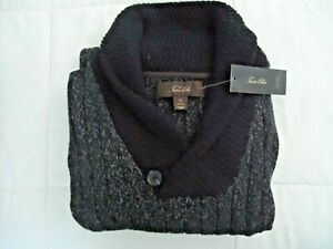 New Tasso Elba New Men's Shawl-Collar Pullover Sweater, Black Heather Size XL