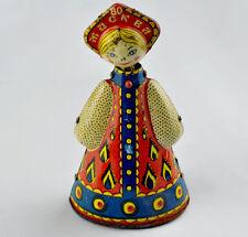 "VTG Russian 6"" Folk Costume Wind Up Tin Toy Girl Doll"