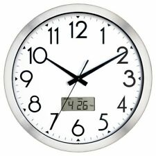 "Brand New Realspace® 14"" Brushed Plastic Quartz Wall Clock Silver Free Shipping!"