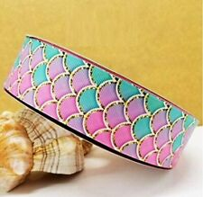 "Grosgrain Ribbon 5/8"", 7/8"", 1.5"" & 3"" Mermaid Scales Ocean Sea Animals Printed"