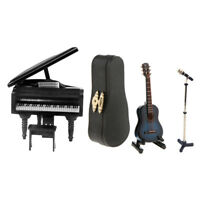 3 Piece Miniature Musical Instrument Microphone Guitar Piano 1/12 Dollhouse