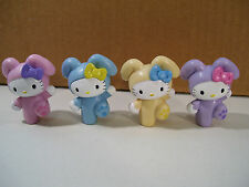 LOT OF 4 HELLO KITTY BUNNY RABBIT PVC FIGURES SANRIO 2007 PINK PURPLE BLUE